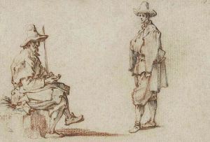 drawing by Callot of two men