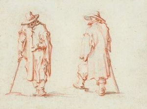 drawing by Callot of two men in long coats